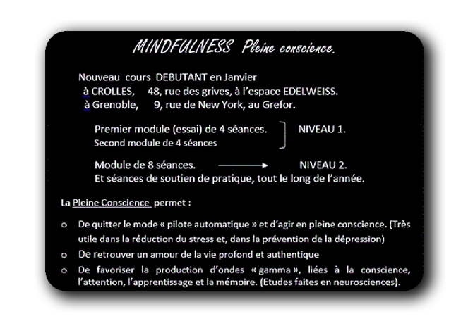 Modules de méditation pleine conscience, mindfulness à Grenoble